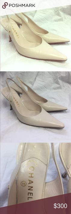 CHANEL Tan Leather Slingbacks Size EU 38/ US 8 Made in Italy, 100% authentic. Right shoe has scratch on the front, worn 4 times. CHANEL Shoes Heels