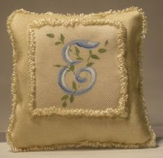 Monogram+E+Silk+Pillow+by+Maritza+Moran+-+$24.00+:+Swan+House+Miniatures,+Artisan+Miniatures+for+Dollhouses+and+Roomboxes