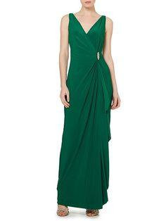 Damien v neck embellished wrap dress