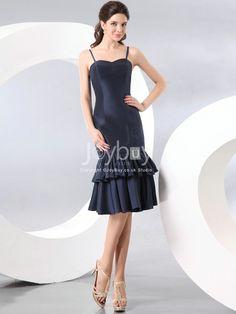 Spaghetti Straps Sheath Knee Length Trendy Design Navy Bridesmaid Dress £78.99