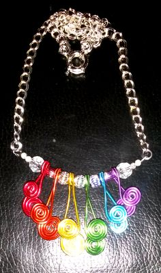 March 21th: Rainbow aluminum wire necklace