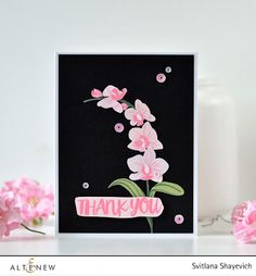 Beautiful thank you card by Svitlana! Love the cluster of orchids against the black card base. | Oriental Orchid stamp set from Altenew
