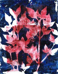 Nandina in Cherry & Midnight watercolor monotype on gelatin plate by Sharon Giles Gelatin, Watercolor Print, Art Techniques, Art World, Printmaking, Cherry, Workshop, Plates, Artist