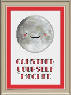 Consider yourself mooned: funny moon by nerdylittlestitcher