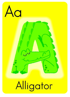 A is for Alligator First entry in my Animal Alphabet is a green alligator on a yellow flash card background. Drawn in Adobe Illustrator.