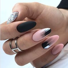 Here are 48 Fascinating Nails You Need To See! All of these nails are lov. Here are 48 Fascinating Nails You Need To See! All of these nails are lov. Almond Acrylic Nails, Cute Acrylic Nails, Matte Nails, Black Almond Nails, Shellac Nails, Glitter Nails, Gorgeous Nails, Pretty Nails, Black Ombre Nails