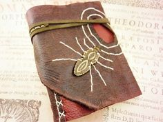 Two Tones Leather Diary Folk Style OOAK Journal