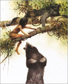 The Jungle Book Author: Rudyard Kipling Illustrator: Robert Ingpen Year: 2004 (original story Publisher: Sterlin. Rudyard Kipling Jungle Book, If Rudyard Kipling, Jungle Jim's, Jungle Animals, Book Libros, Sitting In A Tree, Animation Sketches, Cartoon Fan, Children's Book Illustration