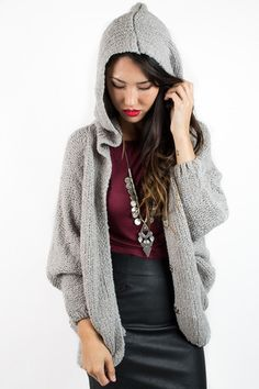 Gray Soft Side Hooded Sweater