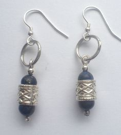 Lapis Beads in Tube Beads with Silver hoops  +48  3/12/13