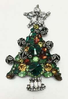 Chris Crouch Moans Multi Color Christmas Tree Pin Brooch #ChrisCrouch