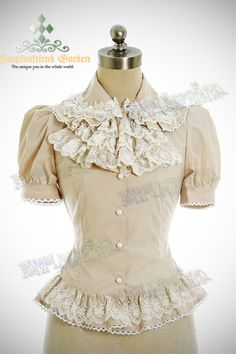 Last Chance: Classic Gothic Lolita:Short Sleeves Blouse&Embroidery Frilly Instant Shipping Cute Fashion, Asian Fashion, Vintage Fashion, Rococo Fashion, Lolita Fashion, Gothic Tops, Short Sleeve Blouse, Short Sleeves, Frill Tops