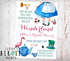 ALICE IN Wonderland Bridal Shower Invitation Alice Bridal Shower Invitation High Tea Bridal Shower Invitation Alice in Wonderland by littlebirdieprints on Etsy https://www.etsy.com/listing/446536796/alice-in-wonderland-bridal-shower