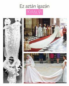 """Elhoztuk nektek a 🔝🔝🔝 uszályt, a királyi vagy másnéven királynői uszályt. Anyáink még Diana hercegnő grandiózus uszályát emlegetik, a mi generációnk pedig már Kate Middleton 3 méteres uszályát veszi alapul a királynői megjelenéshez (habár aki látta II. Erzsébet ikonikus ruháját kiállítva szerintem nem kérdőjelezi meg a """"tisztségét"""")....  Tudj meg többet az királyi uszályról (és kinek volt a leghosszabb a Brit királyi családban) a linkre kattintva! ;)  #esküvő #menyasszonyiruha… Lace Wedding, Wedding Dresses, Kate Middleton, Marvel, Fashion, Wedding Dress Lace, Dress Wedding, Bride Dresses, Moda"""