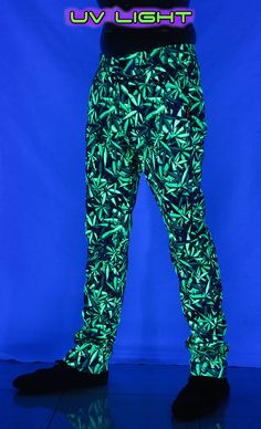 Chillout Pants : Sea of Green Weed  Unisex chillout pants.  Chill in style !  Super comfy pants for those chill times. Can be worn at home or out and about.  Made from a soft fleece fabric with a semi-elasticated waist for a great fit.  UV active !  Button and zip front closing.  2 Side pockets & 2 back pockets.  Fully printed on 100% cotton fleece.  Artwork by Space Tribe Cotton Fleece, Fleece Fabric, Comfy Pants, Long Shorts, Weed, Parachute Pants, Chill, Pockets, Unisex