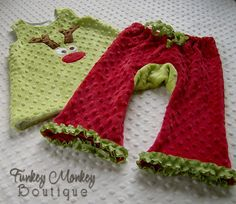 Christmas Red and Grinch Green Minky Booty Pants Custom Size 0 6 12 18 24 months. $21.00, via Etsy.