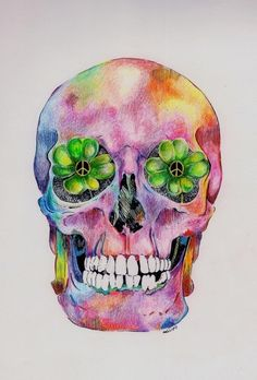 I need this skull without the flowers as a watercolor tattoo on my ribs. And I need it now.