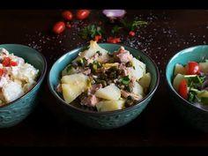 3 απολαυστικές ιδέες για πατατοσαλάτα.Ρόκα, κρεμμύδι, τουρσί, κάπαρη, κόκκινη πιπεριά, ελιές, λεμόνι, δημιουργούν συνδυασμούς για κάθε γεύση. Potato Salad, Potatoes, Ethnic Recipes, Food, Potato, Essen, Meals, Yemek, Eten