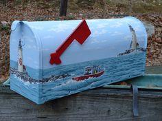 Lighthouse Mailbox, Hand Painted Mailbox, Personalized Maine Mailbox, Fishing Boat Mailbox, Beach Decor