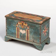 Miniature Polychrome Decorated Powder Blue-painted Six-board Chest Decor, Miniatures, Decorative Boxes, Hand Painted Furniture, Art Decor, Painted Boxes, Painted Chest, Chest, Blue Paint