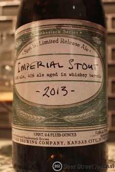 Boulevard Imperial Stout 2013. Partially aged in whiskey. 11.8%