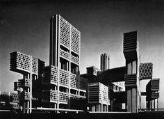Kenzo Tange, project for Tsukiji, Japan, 1966.