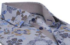 Chemise homme à motifs fleuris doublure pied de poule beige, Chemises cintrées - Chemise Homme