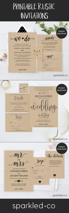 DIY Rustic Wedding Invitations.