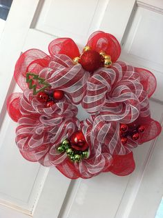 Christmas Deco Mesh Wreath  Red Candy by RoKaByeDesigns on Etsy, $35.00