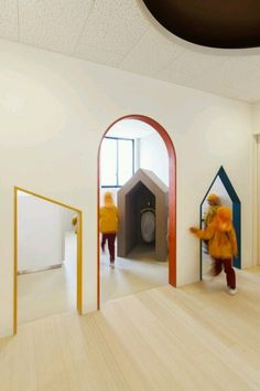 O Kindergarten and Nursery,© Studio Bauhaus, Ryuji Ino Kindergarten Architecture, Kindergarten Interior, Kindergarten Design, Bauhaus, Cabinet Medical, Kids Toilet, Kids Cafe, Nursery Pictures, Kids Library