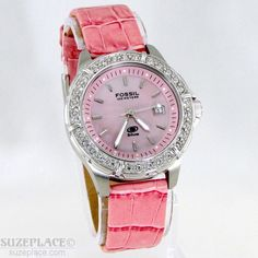 FOSSIL BLUE LADIES WATCH PINK BAND DATE WR 100 MT 1 J' MVT PEARLIZED DIAL   #Fossil #SuzePlace
