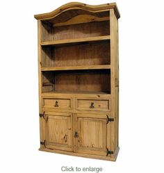 Mexican Pine Curved Top Bookcase - Mexican Furniture