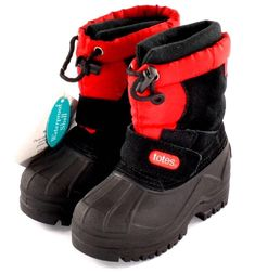 Winter Boots Totes Timmy Toddler Boys Red / Black Snow Boots Waterproof NEW #Totes #WinterSnowBoots
