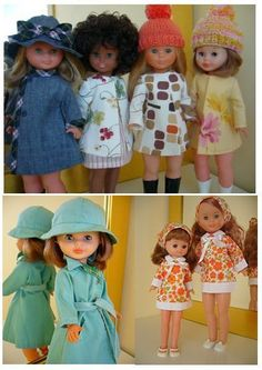 Patrones de ropa la muñeca Nancy Vestidos Nancy, Doll Dress Patterns, Doll Accessories, Arts And Crafts, Dolls, Hats, Diy, Clothes, Dresses