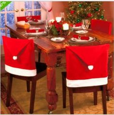 Santa Claus Hat Chair Covers Christmas Dinner Table Party Christmas Festival Home Decoration