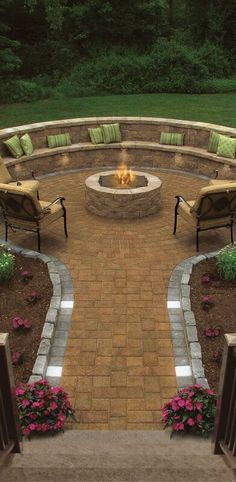 Would you roast marshmallows with this fire pit? This patio features Cambridge Pavingstones and a Cambridge Fire Pit.