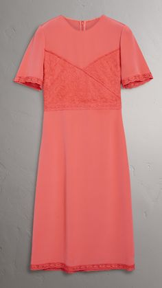 Chantilly Lace Detail Silk Crepe Marocain Dress in Coral Red - Women | Burberry United States