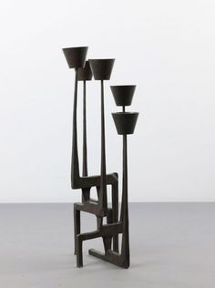 Germany. Candlestick, 1950s. H. 77.8 cm. Bronze with da : Lot 1089