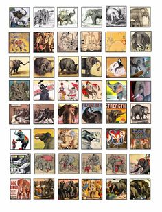 vintage elephant circus animals clip art collage sheet 1 inch squares