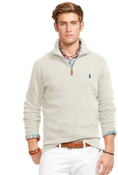 Polo Ralph Lauren Men\u0027s Half Zip French Rib Cotton Sweater from