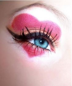 """Valentine heart make up- great for harlequin costume too.... Maybe. Last pinner wrote """"pretty sure my husband would die laughing if I tried this..."""" Mine prob would too!  Awful pretty pic not to post though!"""