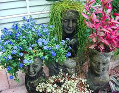 Head Planters and beautiful Garden accessories Florida Landscaping, Pool Landscaping, Garden Pots, Garden Ideas, Potted Garden, Organic Gardening, Gardening Tips, Vegetable Gardening, Amazing Gardens