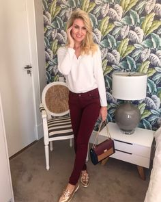 Burgundy pants and white top