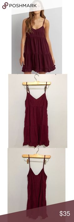 American Eagle Burgundy Babydoll Dress Great condition, no longer sold in stores. American Eagle Outfitters Dresses Mini
