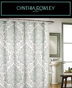 Cynthia Rowley Leave Medallion Print Cotton Shower Curtain By Damask Floral Scroll Grey Turquoise Gray White
