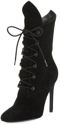 """Kendall + Kylie Maya Winged Lace-Up Bootie, Black - Kendall + Kylie suede bootie. 4.3"""" covered heel; 11""""H shaft. Almond toe. Winged collar. Lace-up front. Smooth outsole. """"Maya"""" is imported."""