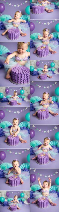 purple teal mermaid cake smash