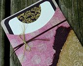 Handcrafted Blank Shabby Chic Pink Polka Dot with Gold Embossed Notecard