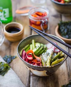 Miso-Roasted Asparagus and Pickled Carrot Sushi Bowls Recipe by Bojon Gourmet | Maypurr