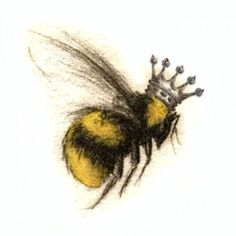 Queen bee tattoo - Queen bee tattoo You are in the right place about feather tattoo Here we offer you the most beautif - Bumble Bee Tattoo, Honey Bee Tattoo, Body Art Tattoos, Tatoos, Sister Tatto, Queen Bee Tattoo, Skull Tatto, Bee Drawing, Natur Tattoos